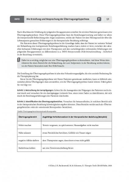 CBASP: Die Erstellung und Besprechung der Übertragungshypothese