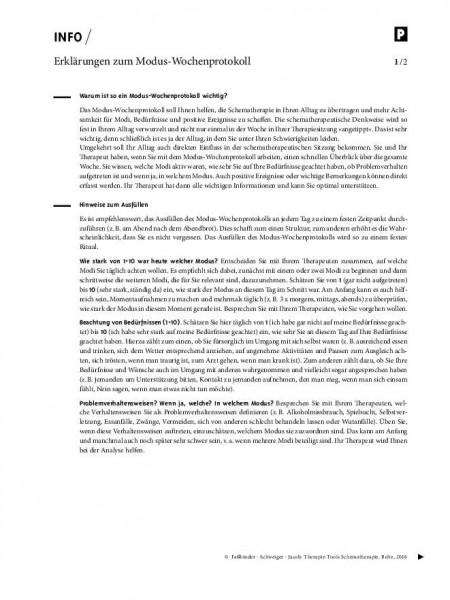 Erklärungen zum Modus-Wochenprotokoll in der Schematherapie