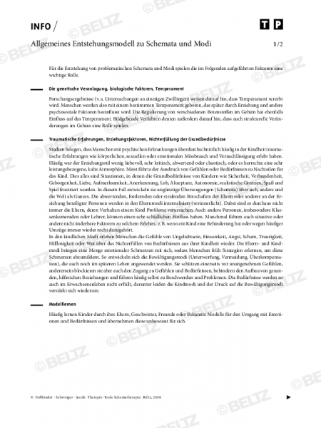Schematherapie: Allgemeines Entstehungsmodell zu Schemata und Modi