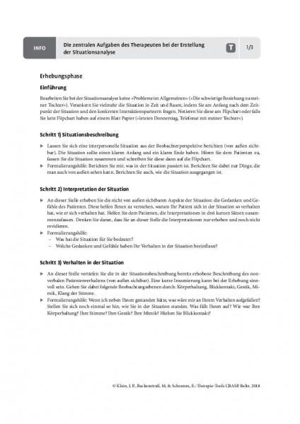 CBASP: Die zentralen Aufgaben des Therapeuten bei der Erstellung der Situationsanalyse
