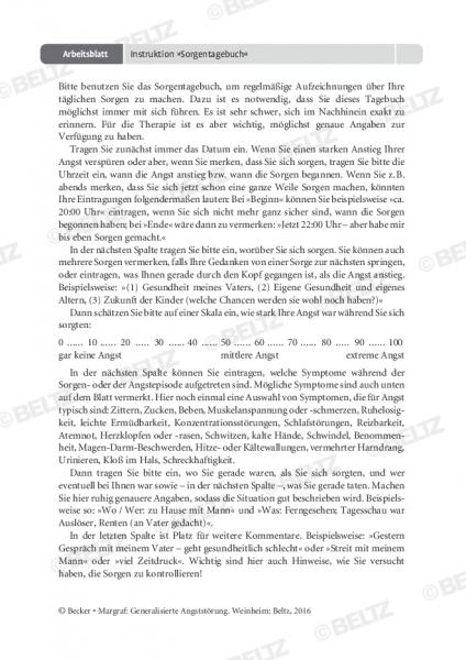 Generalisierte Angststörung: Instruktion »Sorgentagebuch«