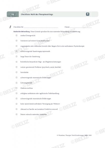 Essstörungen: Wahl des Therapiesettings (Checkliste)