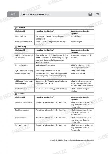 Verhaltenstherapie: Checkliste Basisdokumentation