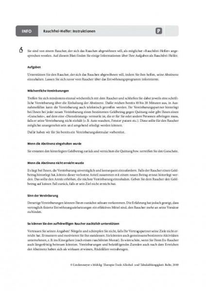 Tabakabhängigkeit: Instruktionen Rauchfrei-Helfer