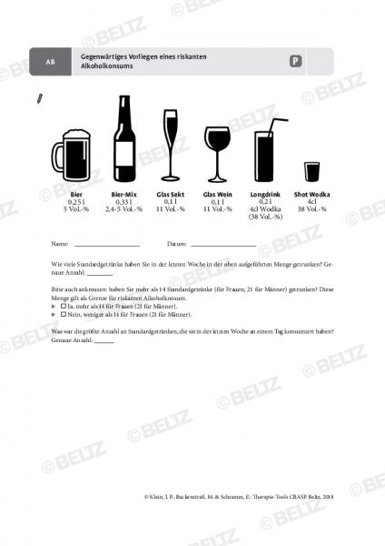 CBASP: Gegenwärtiges Vorliegen eines riskanten Alkoholkonsums