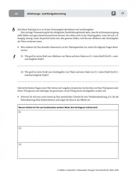 Kaufsucht: Ablehnungs- und Rückgabetraining – Arbeitsblatt für Patientinnen