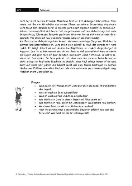 Fallbeispiel im Sozialen Kompetenztraining bei ASS