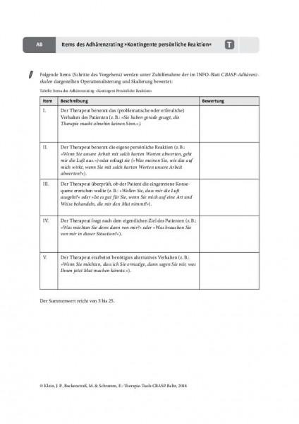 CBASP: Items des Adhärenzrating »Kontingente persönliche Reaktion« (KPR)