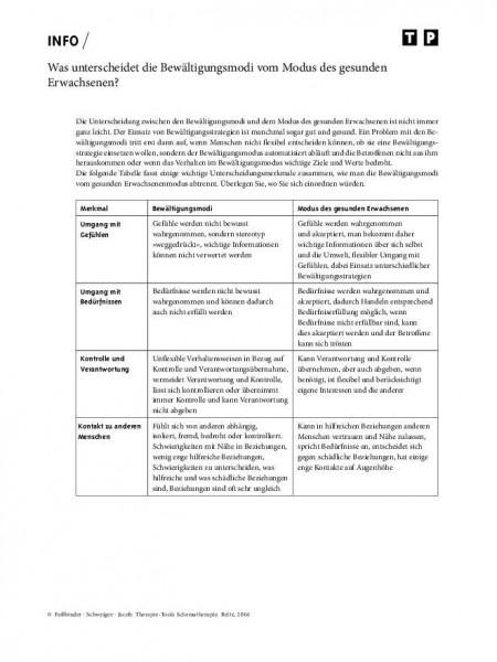 Schematherapie: Was unterscheidet die Bewältigungsmodi vom Modus des gesunden Erwachsenen?